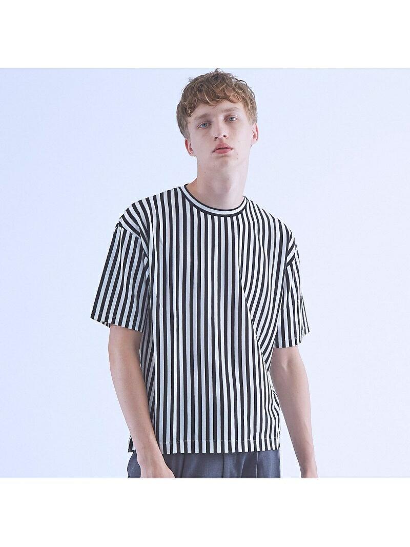 ABAHOUSE ストライプオーバーサイズTシャツ アバハウス カットソー【送料無料】