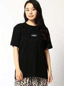 HeM (U)センター ロゴ 刺繍 Tシャツ ヘム ショップ カットソー Tシャツ ブラック ベージュ ホワイト