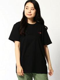 HeM (U)トリコロール ロゴ 刺繍 Tシャツ ヘム ショップ カットソー Tシャツ ブラック ベージュ ホワイト
