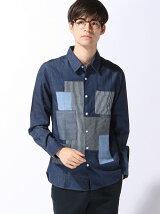 (M)ブロードパッチワークシャツ