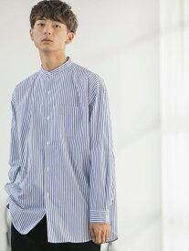 coen ポプリン起毛ビッグシルエットストライプシャツ コーエン シャツ/ブラウス 長袖シャツ ネイビー グレー