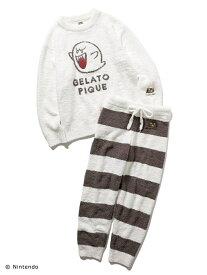 gelato pique 【スーパーマリオ】 【レディース】 ジャガードセットアップ ジェラートピケ インナー/ナイトウェア ルームウェア/トップス ブラック ホワイト レッド ブルー【送料無料】