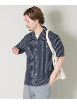 ストライプオープンカラーショートスリーブシャツ
