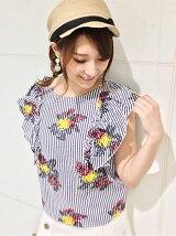 花柄×ストライプ袖フリルブラウス