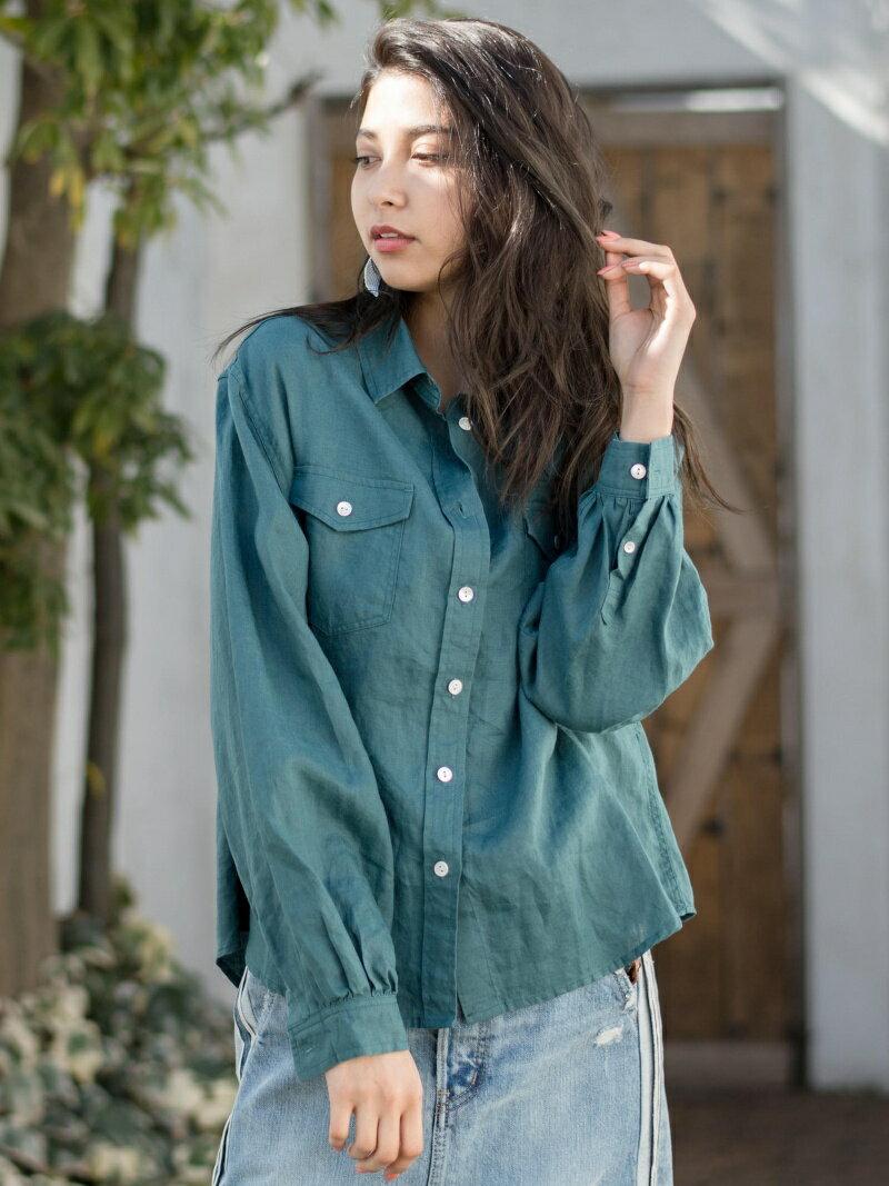 【SALE/39%OFF】リネンギャザースリーブシャツ    シャツ/ブラウス【RBA_S】【RBA_E】【送料無料】