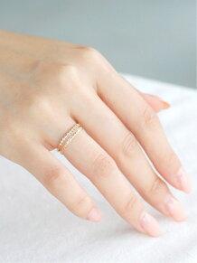 (W)10粒ダイヤラインのリング
