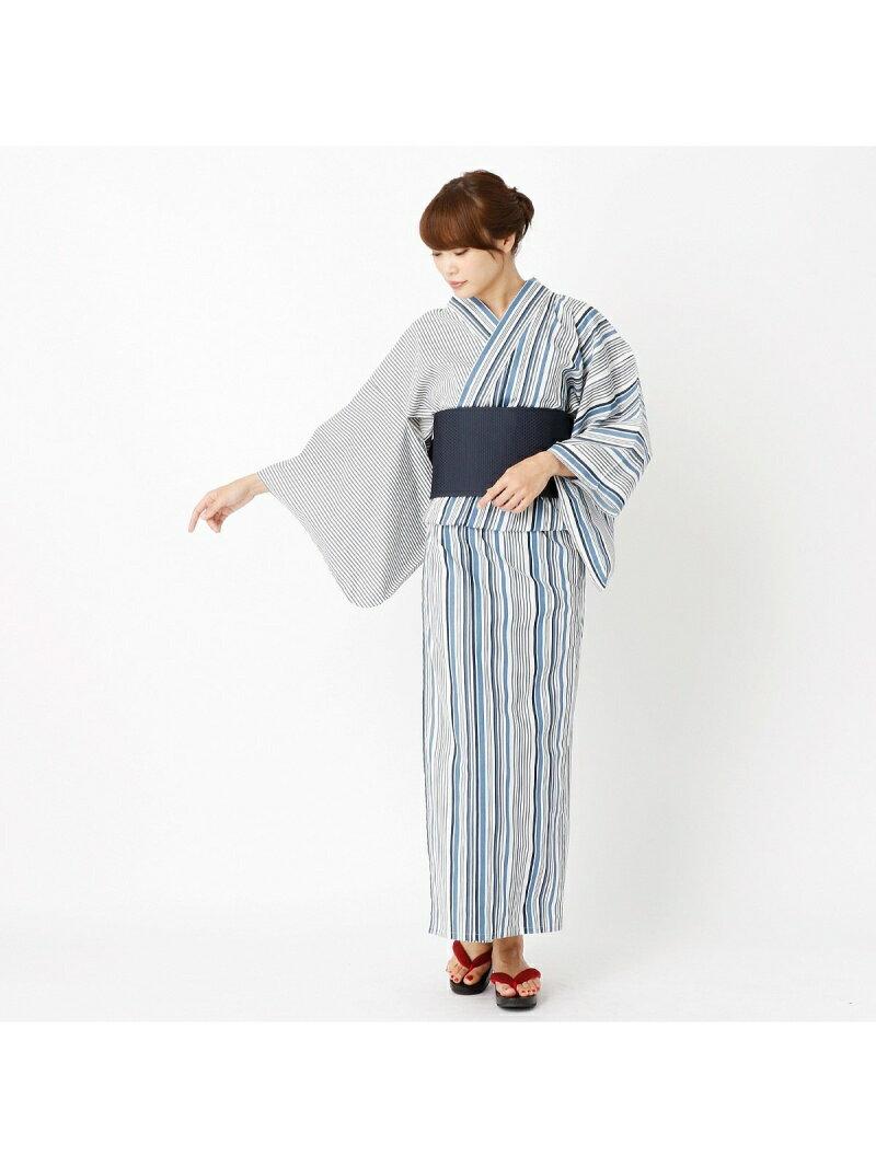 COMME CA ISM 縞柄プリントレディース浴衣 コムサイズム【送料無料】