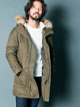 CTN/NY TWILL MILITARY HOOD DOWN COAT