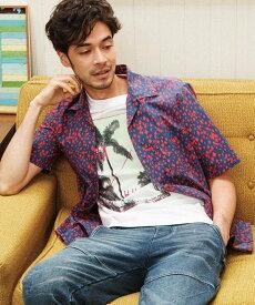 【SALE/50%OFF】RATTLE TRAP デジタルヒョウ柄オープンカラーシャツ メンズ ビギ シャツ/ブラウス 長袖シャツ ブルー ブラック【送料無料】