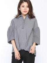 裾タックボリューム袖ブラウス