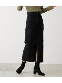 AZUL by moussy HIGH WAIST SLIT DENIM SKIRT/ハイウエストスリットデニムスカート アズールバイマウジー スカート スカートその他 ブラック ホワイト ブルー【送料無料】