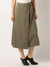 チェック柄ロング巻きスカート