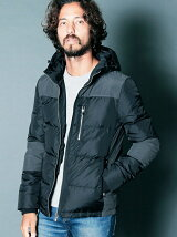 NYLON HOOD SKINNY TACTICAL DOWN JACKET