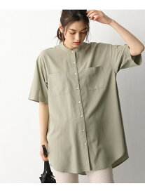 GLOBAL WORK (W)サラサラバンドシャツ/SS グローバルワーク シャツ/ブラウス 半袖シャツ カーキ ベージュ ブラック ホワイト