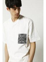 ペイズリ-ポケットクルーネック半袖T