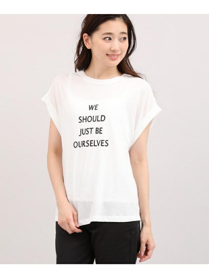 【SALE/50%OFF】INED L size 《大きいサイズ》フレンチスリーブロゴTシャツ 【INED】《マシュふわ(R)》【2018秋冬】 イネド エルサイズ カットソー【RBA_S】【RBA_E】