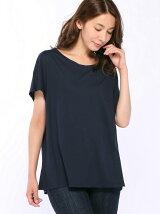 (W)ループロゴコットンUネックワイドTシャツ・カットソー