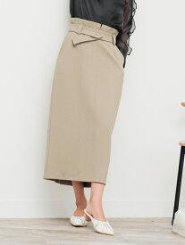 【SALE/20%OFF】LADY MADE ボタンベルトタイトSK レディメイド スカート タイトスカート カーキ ブラック ベージュ【送料無料】