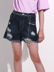 【SALE/58%OFF】ZIDDY チェーンベルト付き ダメージデニムショートパンツ(130~160cm) ベベ オンライン ストア パンツ/ジーンズ ショートパンツ ネイビー ブルー