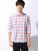 (M)【セレクト】綿麻OX タータンチェック6分袖シャツ