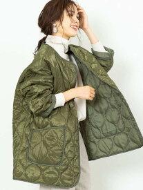 【SALE/55%OFF】coen キルティングビッグジャケット(コート/アウター/中綿) コーエン コート/ジャケット ノーカラージャケット カーキ ブラック ベージュ