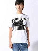 (M)パネルボーダースタープリントTシャツ