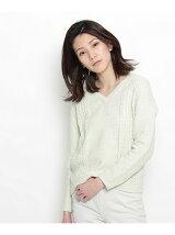 編み柄MIXネップ杢ニット