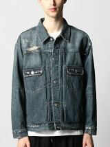 <monkey time>  DISTRESSED DENIM TRUCKER JACKET/デニムジャケット