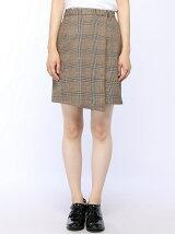【BROWNY】(L)レトロチェックヘムラップタイトミニスカート