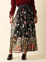 シースルーフラワー刺繍スカート
