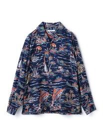 【SALE/50%OFF】RATTLE TRAP フジエットプリントオープンカラーシャツ メンズ ビギ シャツ/ブラウス 長袖シャツ ホワイト ネイビー【送料無料】