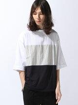 【BROWNY】(M)トリコロール切替7分袖Tシャツ
