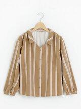 マルチストライプ抜き衿シャツ