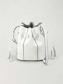 L LEATHER タッセルモチーフ巾着バッグ エルレザー バッグ ショルダーバッグ ホワイト オレンジ ブラック【送料無料】