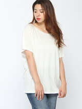 (W)異素材パイピング半袖ビッグTシャツ・カットソー