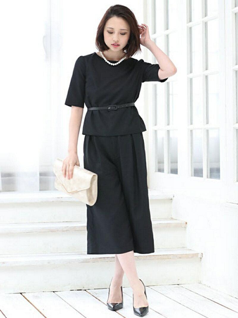 【SALE/39%OFF】Dress Lab Dress Lab/ベルト付フォーマルガウチョセットアップ クリーム ビジネス/フォーマル【RBA_S】【RBA_E】【送料無料】