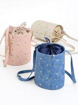 ○フラワー刺繍バケツ型ショルダー