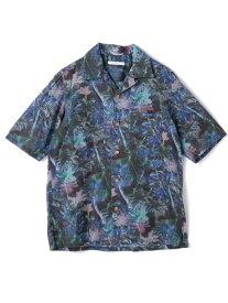 【SALE/70%OFF】RATTLE TRAP フレンチガーゼデジタルトロピカルプリントオープンカラーシャツ メンズ ビギ シャツ/ブラウス 長袖シャツ ブルー ホワイト【送料無料】