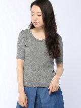 メランジリブクルーネック半袖Tシャツ