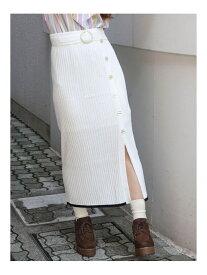 【SALE/20%OFF】dazzlin サッシュベルトニットロングスカート ダズリン スカート ロングスカート ホワイト ブラック ネイビー パープル【送料無料】