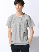 (M)ダメージ加工ペイントプリントTシャツ