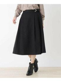 【SALE/36%OFF】SHOO・LA・RUE 【M-L】ラップ風フラノミモレスカート シューラルー スカート スカートその他 ブラック ブラウン レッド
