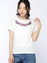C・花柄刺繍クルーN/Tシャツ