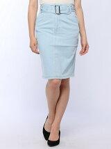 ベルト付きデニムタイトスカート