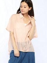 スパンボイル裾ドレープシャツ