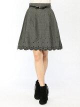 グレンチェックスカラ刺繍スカート