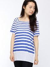 (W)裾異素材ボーダーTシャツ・カットソーDDF3