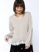 CHILLE 衿&裾レースニットTOP