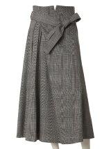 《INED》リボンベルト付きAラインフレアスカート