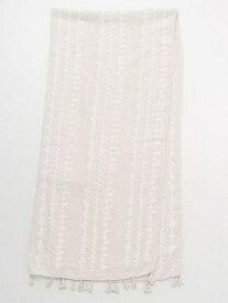 欧州航路 クロス刺繍風プリントストール チャイハネ ファッショングッズ マフラー/スヌード ベージュ ピンク ブルー